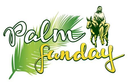 Domenica delle Palme, Gesù Cristo cavalca un asino in Gerusalemme, simbolo della cristianità illustrazione vettoriale schizzo logo