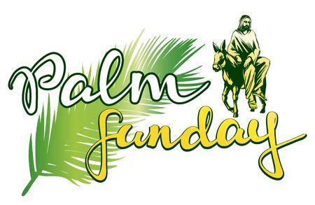 palm Sunday, Jesus Christ rides on a donkey into Jerusalem , symbol of Christianity vector illustration sketch logo Иллюстрация