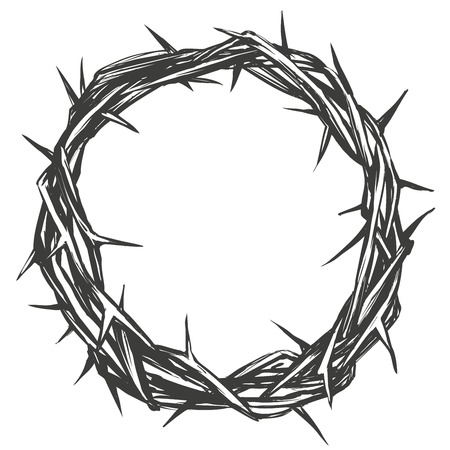Crown of thorns, easter religious symbol of Christianity hand drawn vector illustration sketch logo Ilustração