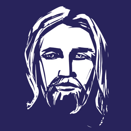 Jesus Christ, the Son of God , symbol of Christianity hand drawn vector illustration