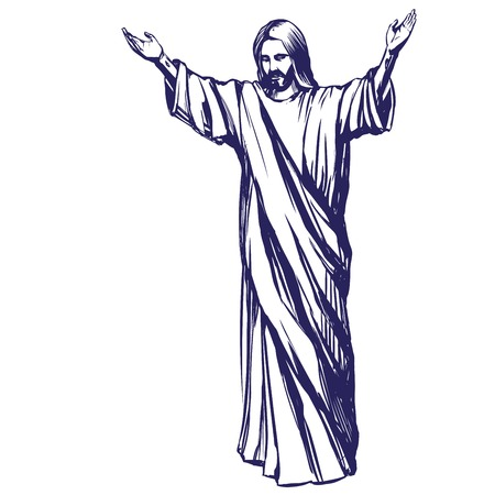 Jesus Christ, the Son of God , symbol of Christianity hand drawn vector illustration Vettoriali