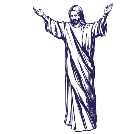 Jezus Chrystus, Syn Boży, symbol chrześcijaństwa ręcznie rysowane ilustracji wektorowych