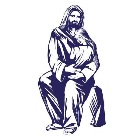 イエスキ リストは、彼の手は、キリスト教のシンボルで子供を保持する、神の息子手描画ベクトル イラスト スケッチ