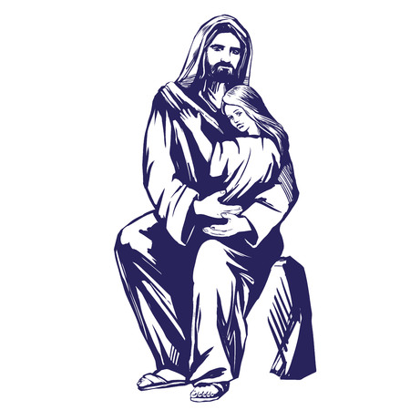 Jesus Christ, Son of God, holding a child in his hands, symbol of Christianity hand drawn vector illustration sketch Illustration