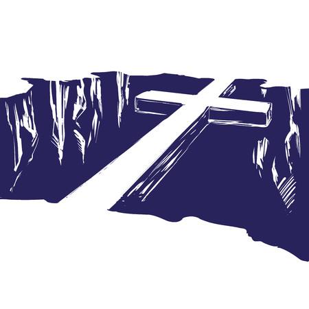 Das christliche Holzkreuz liegt über dem Abgrund und verbindet uns mit Gott. Symbol des Christentums in der Hand gezeichnet Vektor-Illustration Skizze