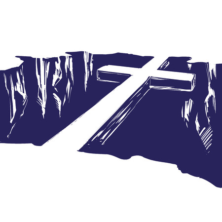 Christian wooden cross lying over the chasm, uniting us with God. Symbol of Christianity in hand drawn vector illustration sketch