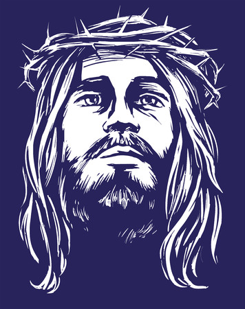 Jesus Christ, the Son of God in a crown of thorns on his head, a symbol of Christianity hand drawn vector illustration sketch Illustration