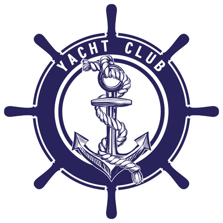 Anchor and wheel emblem sign symbol vector illustration sketch isolated on white background
