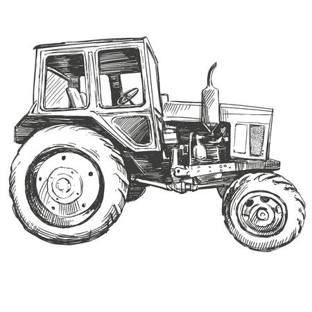 Farm tractor hand drawn illustration realistic sketch
