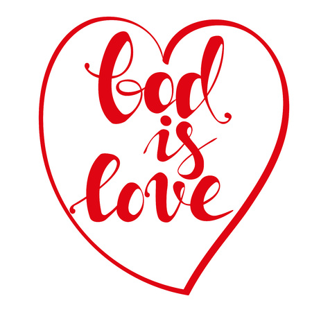 God is love calligraphic text symbol of Christianity hand drawn vector illustration sketch