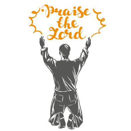 Hombre adora símbolo de Dios del cristianismo dibujado a mano ilustración vectorial esbozo Foto de archivo - 80713594
