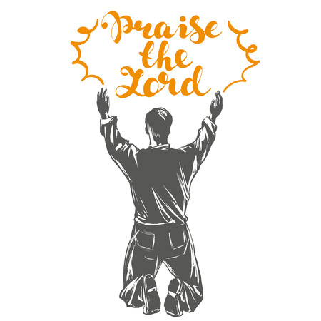 man aanbidt god symbool van christendom hand getekende vector illustratie schets