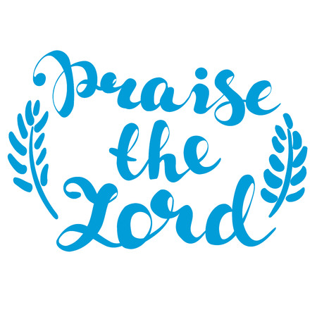 praise the Lord calligraphic text symbol of Christianity hand drawn vector illustration sketch