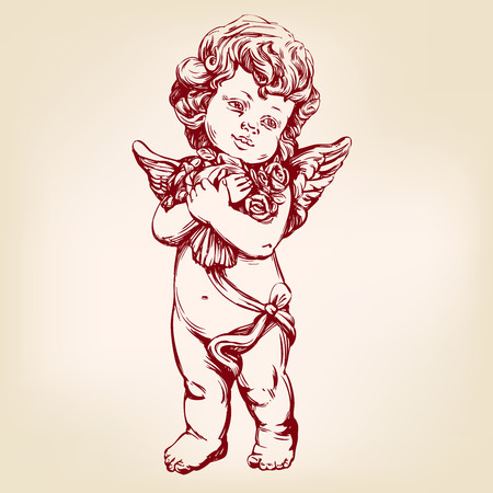 rose: Angel or cupid, little baby holds a bouquet of flowers, greeting card hand drawn vector illustration realistic sketch