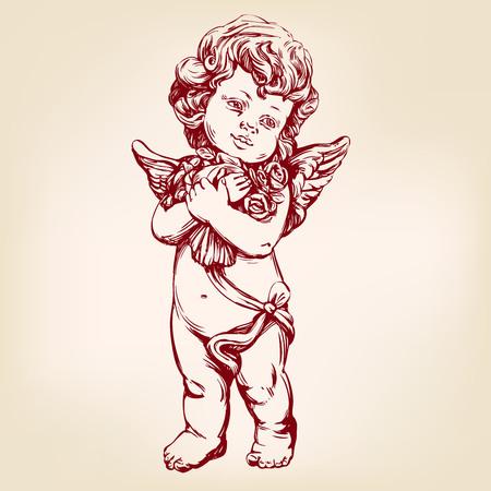 Engel oder Amor, kleines Baby hält einen Blumenstrauß, Grußkarte Hand gezeichnet Vektor-Illustration realistische Skizze Standard-Bild - 80720339