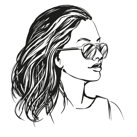 girl in sunglasses , beautiful woman face hand drawn vector illustration sketch