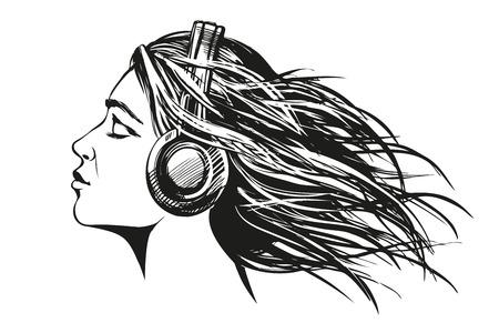 Belle jeune fille à l'écoute de la musique sur les écouteurs Banque d'images - 81799901