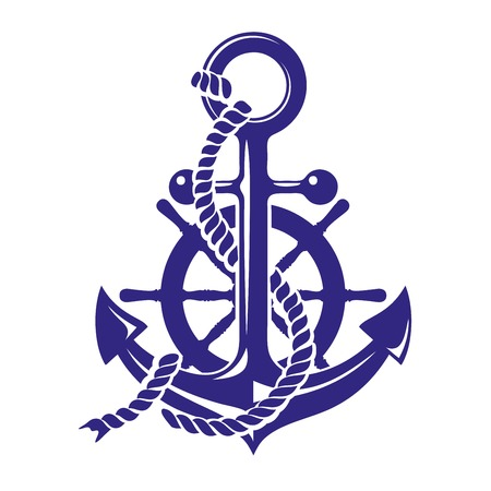 Anchor and ships wheel symbol vector illustration isolated on white background Illustration