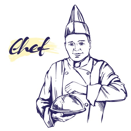 Chef in hat label hand drawn vector illustration sketch