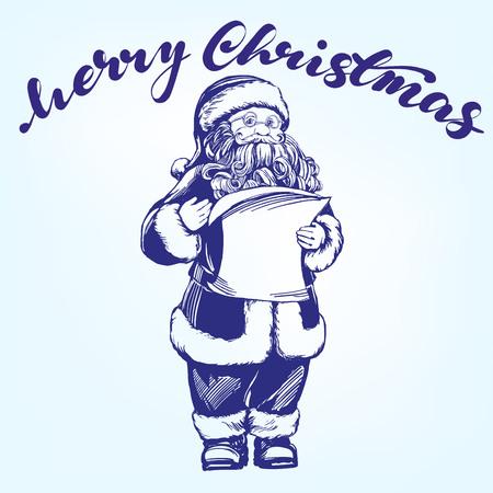 Santa Claus hand drawn vector illustration realistic sketch.