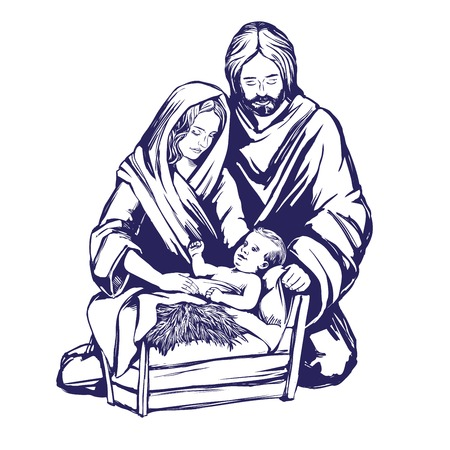 Christmas story. Mary, Joseph and the baby Jesus, Son of God , symbol of Christianity hand drawn vector illustration.