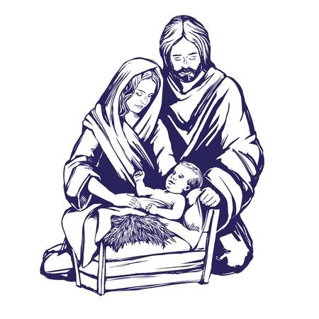 Historia de Navidad María, José y el bebé Jesús, hijo de Dios, símbolo del cristianismo dibujado a mano ilustración vectorial.