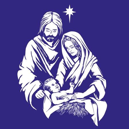 Storia di Natale Maria, Giuseppe e il bambino Gesù, Figlio di Dio, simbolo del cristianesimo disegnata a mano illustrazione vettoriale. Archivio Fotografico - 89402126