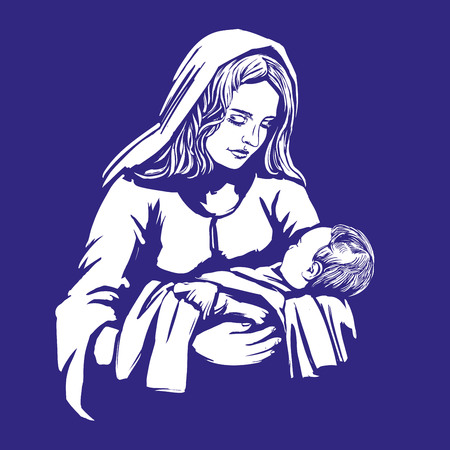 Christmas story. Mary and baby Jesus, Son of God , symbol of Christianity hand drawn vector illustration Illustration