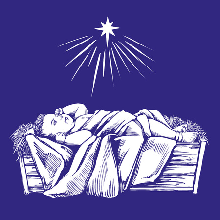 Christmas story. Christmas night , baby Jesus in the manger, Son of God , symbol of Christianity hand drawn vector illustration. Illustration