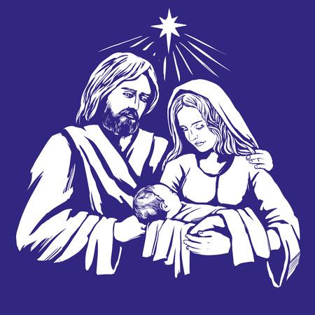 Kerstverhaal. Mary, Joseph en het baby Jesus, Zoon van God, symbool van Christendom overhandigen getrokken vectorillustratie