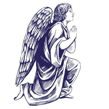 천사는 그의 무릎에기도 기독교의 종교 기호 손으로 그린 벡터 일러스트 스케치 일러스트