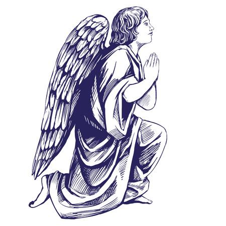 Angel bidt op zijn knieën religieus symbool van het christendom hand getrokken vector illustratie schets