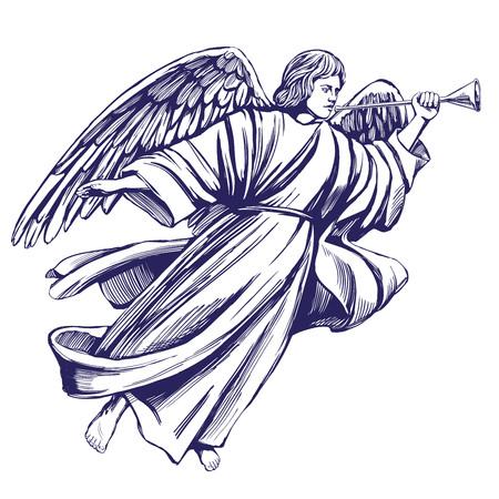Angelo che vola e suona una tromba. Simbolo religioso del cristianesimo. Schizzo disegnato a mano dell'illustrazione di vettore Archivio Fotografico - 89951436
