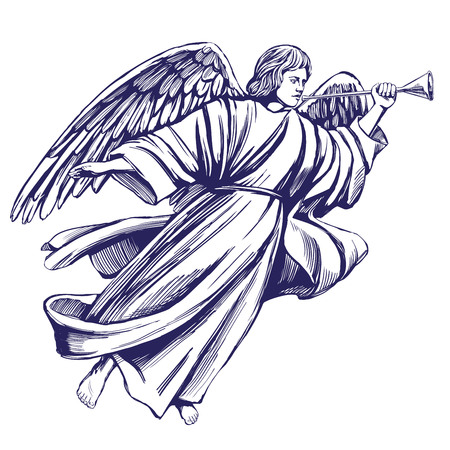 Angel flying and playing a trumpet. Religious symbol of Christianity. Hand drawn vector illustration sketch