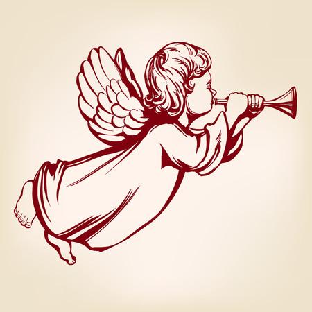 ange vole et joue de la trompette, symbole religieux du christianisme dessinés à la main vector illustration croquis