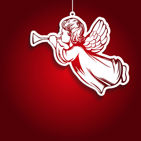 angel flies and plays the trumpet , decoration, toy, religious symbol of Christianity hand drawn vector illustration sketch