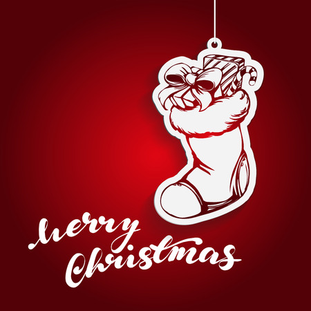 Christmas sock Santa Claus, Decorative Christmas ornament, hand drawn vector illustration sketch. Illustration