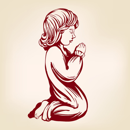 girl child praying on his knees , religious symbol of Christianity hand drawn vector illustration sketch