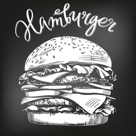 Big burger, hamburger hand drawn vector illustration sketch. chalk menu. retro style.