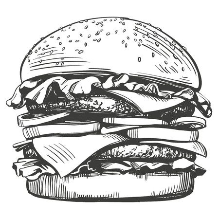 Big burger, hamburger hand drawn vector illustration sketch retro style.