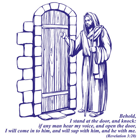 イエス・キリスト、ドアをノックする神の子、キリスト教のシンボル描かれたベクトルイラストスケッチ