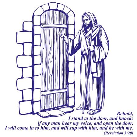 예수 그리스도, 문을 두드리는 하나님의 아들, 기독교의 상징 손으로 그린 벡터 일러스트 스케치