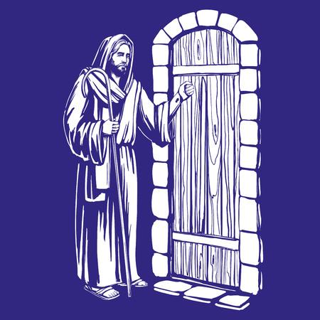 Hombre llamando a la puerta.