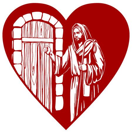 Jésus-Christ, fils de Dieu, frappant à la porte, symbole du christianisme, illustration de croquis de vecteur dessiné à la main.