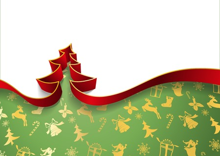 Christmas tree from ribbons isolated on white background and decorative festive background vector illustration. Illustration