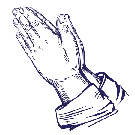 Praying Hands , symbol of Christianity hand drawn vector illustration sketch Stock Vector - 91368673