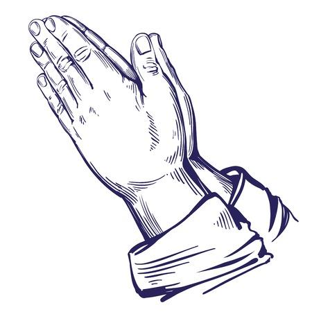 Praying Hands , symbol of Christianity hand drawn vector illustration sketch