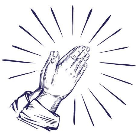 Praying Hands , symbol of Christianity hand drawn vector illustration sketch.