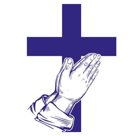 Praying Hands , cross, symbol of Christianity hand drawn vector illustration sketch
