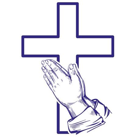 Praying hands illustration.